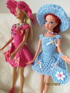 Dresses Barbie Clothes Patterns, Crochet Barbie Clothes, Crochet Dolls, Crochet Long Dresses, Crochet Toddler Dress, Barbie Dress, Barbie Doll, Mini Vestidos, Barbie Friends