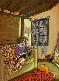 Hermione Reading by amandioka on deviantART