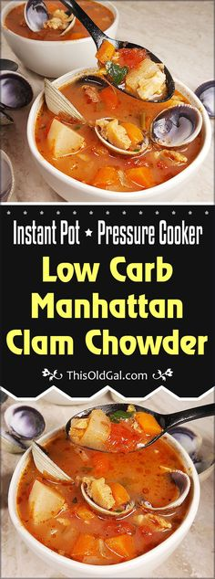 Pressure Cooker Low Carb Manhattan Clam Chowder is a delicious restaurant quality soup. Keto and Weight Watchers Friendly, Gluten Free, Low Calorie and super yummy. via @thisoldgalcooks