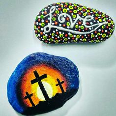 Inbox to Order! Stone Painting - Love, Cross