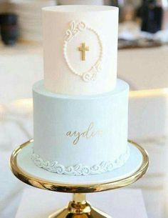 Beautiful capture of the christening cake I did for baby Ayden by - Kommunion - kuchen kindergeburtstag Christening Cake Boy, Baby Boy Baptism, Cake For Baptism Boy, Baptism Party, Baptism Ideas, Confirmation Cakes, Baptism Food, Simple Baptism Cake, Boy Communion Cake