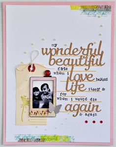 Instax stamp, kraft script letters, individual letter stamps = LOVE! By Sasha Farina