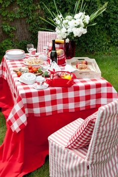 Quaint Garden Picnic With Red U0026 White Checkered Table Overlays