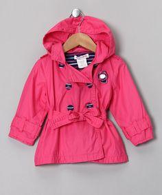 Fuchsia Belted Raincoat