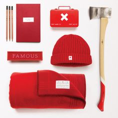 """Gift Guide: The Famous Red Collection It's that time of year, and so to the Don Quixotes, and the Holly Golightlys: we salute you, and we pay our respects with a short & sweet """"Famous Red"""" curation — essential tools in the timeless art of seduction. He will never expect a first aid kit, and she will never expect an axe: thus ensuring the element of surprise to be your advantage…"""