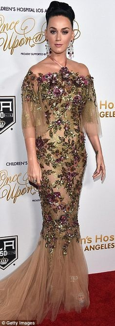 Katy Perry glows in frilly gold gown at Children's Hospital Los Angeles gala | Daily Mail Online