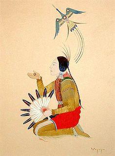 Peyote Prayer Stephen Mopope - Kiowa (1898- 1974) watercolor on paper. Native American Church - Peyote Religious Art - Native American Church Art