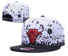 Men Women's Basketball Adjustable Hat Chicago Bulls Head Snapback White