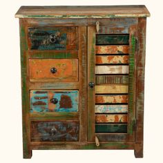 Reclaimed Wood Rustic Multi Utility Shutter Door Sideboard Buffet Table Cabinet