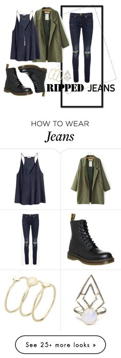 """Ripped Jeans; 100 Ways"" by maggiesinthemoon on Polyvore featuring rag & bone, Dr. Martens, H&M, Carolyn Pollack/Relios and rippedjeans"
