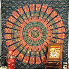 Queen Size Mandala Tapestry, Wall hanging Tapestries, Psychedelic Indian Tapestry Bedding, Bohemian Wall Hanging, Floral Print Bed Cover