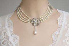 Bridal Pearls Choker  Silver Filigree Ivory by mylittlebride, $199.00