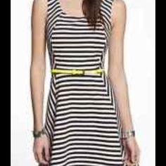 e02778f25a48 Express b w ponte knit fit n  flare WITH NEON BELT