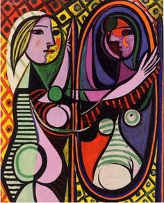 Painting by Pablo Picasso (1881-1973), 1932, Girl before a Mirror,  Oil on canvas, Museum: Museum of Modern Art, NY.