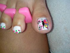 Y Nail Polish Art, Toe Nail Art, Toe Nails, Cute Pedicure Designs, Toe Nail Designs, Cute Pedicures, Nailart, Different Nail Designs, Pedicure Nail Art