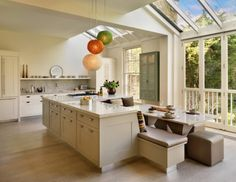 Kitchen An Amusing Kitchen With DIY Kitchen Island With White Marble Countertop And Big Glass Sun Roof Design Design Trends For Kitchen Cabinets