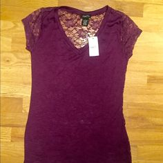 Purple Tshirts with Lace back Rue 21 new with tags purple Tshirt with lace see through back! Rue 21 Tops Tees - Short Sleeve