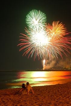 Fireworks from the beach in El Campello - Alicante, Spain