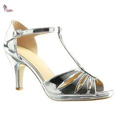 Angkorly - Chaussure Mode Sandale salomés sexy femme transparent pailettes lanière Talon haut bloc 10 CM - Argent - 101-1 qb6mHCL