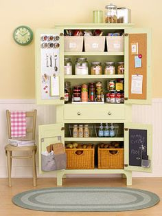 Cleverly outfitted, an old armoire can become a storage-rich kitchen pantry. Repaint the cabinet to match your kitchen decor then, when dry, line the inside of the doors with metal and cork inserts or coat one door's interior with chalkboard paint. Kitchen Organization, Kitchen Storage, Kitchen Decor, Pantry Storage, Green Kitchen, Ikea Kitchen, Pantry Diy, Yarn Storage, Organization Station