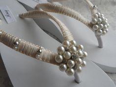 Wedge Bridal Flip Flops / Wedding Rhinestone  Pearls Flip Flops / Ivory Macrame Flip Flops / Bridesmaids Shoes / Bridal Sandals.