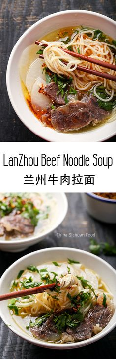 An addictive Lanzhou beef noodle soup Tasty Noodles Recipe, Yummy Noodles, Yummy Pasta Recipes, Lunch Recipes, Asian Noodle Recipes, Asian Recipes, Beef Recipes, Soup Recipes, Cooking Recipes