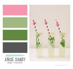 Candy Pink, Green and Charcoal Color Palette #colorpalette