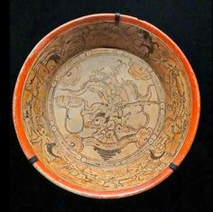 Mayan plate, made from terracotta. From Calakmul, Mexico, 600–1000 AD