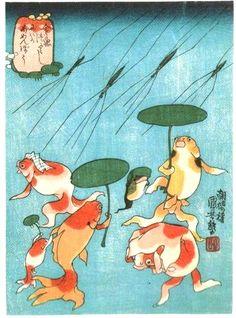歌川国芳:金魚づくし/にわかあめんぼう