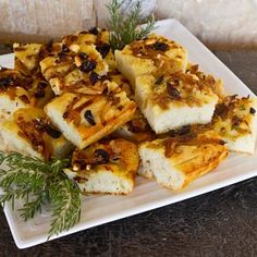 Potato Focaccia With Caramelized Onions, Olives & Rosemary