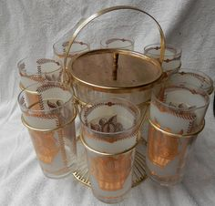 Vintage ice bucket with stand and 8 decorated glasses by BandCEmporium, $45.00