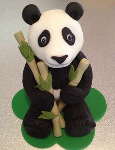 Panda Cake Topper edible fondant icing by CharmedCreationsCake