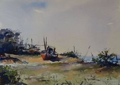 """Fernando Pena  """"Tomando sol"""" Acuarela 26 x 36 cm #acuarela #watercolor #watercolour Watercolor Artists, Artist Painting, Old Boats, Fine Art Auctions, Fine Art Gallery, Art For Sale, Old Things, Watercolors, Nature"""