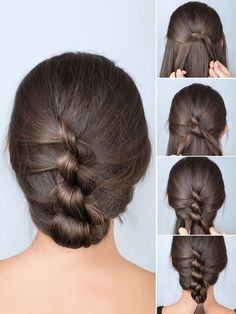 Geknoteter Zopf DIY Haare Knot your hair and you're done? This beautiful hairstyle is almost as easy Work Hairstyles, Braided Hairstyles, Easy Hairstyle, Trendy Hairstyles, Hairstyles 2018, Professional Hairstyles, Braided Updo, Hairdos, Wedding Hairstyles