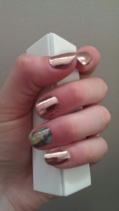 Rose gold, birds of a feather accent Jamberry Nail Wraps www.kittybexson.jamberrynails.net