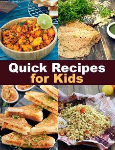 Quick recipes for kids, easy, tarla dalal quick meals for kids, quick lun. Kids Cooking Recipes, Veg Recipes, Baby Food Recipes, Indian Food Recipes, Quick Recipes For Dinner, Bread Recipes For Kids, Lunch Box Recipes, Shrimp Recipes, Easy Recipes