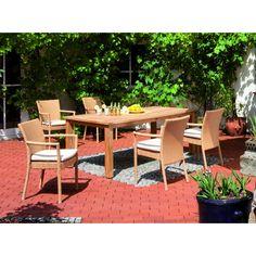 Rattan-Teakholz-Sitzgruppe Cartago - Ihr Online Shop für exklusive Gartenmöbel - #Garten #Moebel