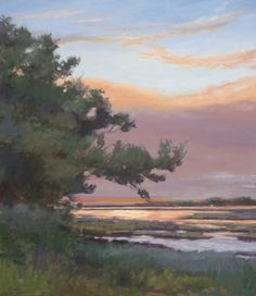Sunset Glimmer, by Mary Erickson.    Available now!  #lowcountry #sunset #art