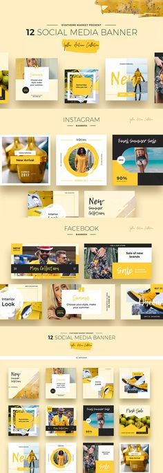 Yellow Autumn Social Media Designs PSD