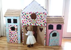 Happy little play houses made from cardboard box and wrapping paper! Sugar Hill, Happy Heart, House Made, Play Houses, Little Boys, Party Planning, Baby Items, Toddler Bed, About Me Blog
