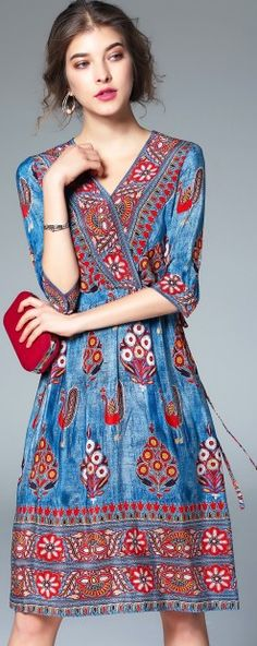 Blue Vintage Silk Print Elastic Waist V Neck Half Sleeve Midi Dress