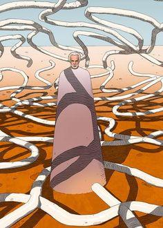 Affiche d'art en édition limitée Jodorowsky sous épices (Dune) par l'artiste Zoran Janjetov. Oeuvre présentée à l'expo Jodorowsky's Dune à la French Paper Gallery