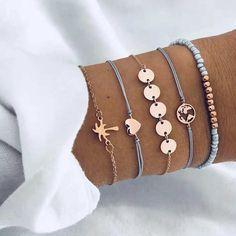Buy 5 PCS/Set Fashion Heart Map Charm Bracelets Set For Women Boho Vintage Stone Leather Chain Bracelet Party Jewelry Wholesale Bracelet Love, Bracelet Fil, Arrow Bracelet, Tassel Bracelet, Cute Bracelets, Bracelets For Men, Handmade Bracelets, Fashion Bracelets, Beaded Bracelets