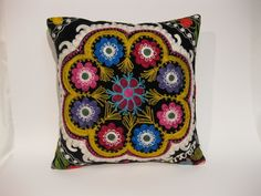 "Hand Embroidered Floral Needlecraft Suzani Pillow Cover,  Black Backgrounded 16""x16"" Suzani Throw Pillow by HandcraftMade on Etsy https://www.etsy.com/listing/183017544/hand-embroidered-floral-needlecraft"