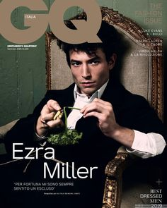 American actor and singer Ezra Miller lands the January 2019 cover of GQ Italia in a look from Prada captured by photographer Michel Comte. In the cover . Ezra Miller, Heath Ledger, Male Magazine, Book And Magazine, Zayn Malik, Gq Magazine Covers, George Ezra, Cover Boy, Music Magazines