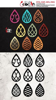9 Leather / Wood Earring Templates Vector Digital SVG DXF Jewelry Cut Files Download Laser cnc Plasma Die Cutting Cricut Silhouette JB-1052