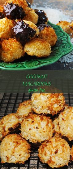 Coconut macaroons dipped in chocolate are coconutty, golden and toasty. All chewy and moist on the inside. Made in 30 minutes. Coconut Recipes, Gluten Free Recipes, Gourmet Recipes, Sweet Recipes, Snack Recipes, Cooking Recipes, Snacks, Coconut Bites Recipe, Cake Recipes