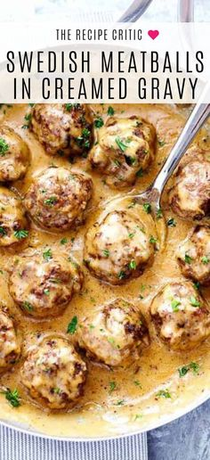 Swedish Meatballs in creamed gravy is finger licking lets have seconds delicious Get this mind blowingly easy and delicious recipe and turn yourself into a homemade chef tonight meatballs dinner recipe Easy Appetizer Recipes, Healthy Dinner Recipes, Delicious Dinner Recipes, Healthy Dinners, Best Dinner Recipes Ever, Soup Appetizers, Winter Dinner Recipes, Easy Pasta Recipes, Best Swedish Meatball Recipe
