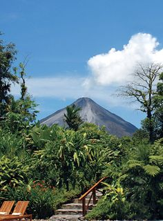 View of the nearby Arenal Volcano