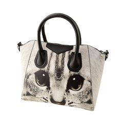 FGGS Vintage Women PU leather Handbag Animal Print Twin Grab Handles Shoulder Crossbody Bag, Gray
